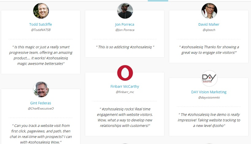 SalesIQ review customer testimonialz