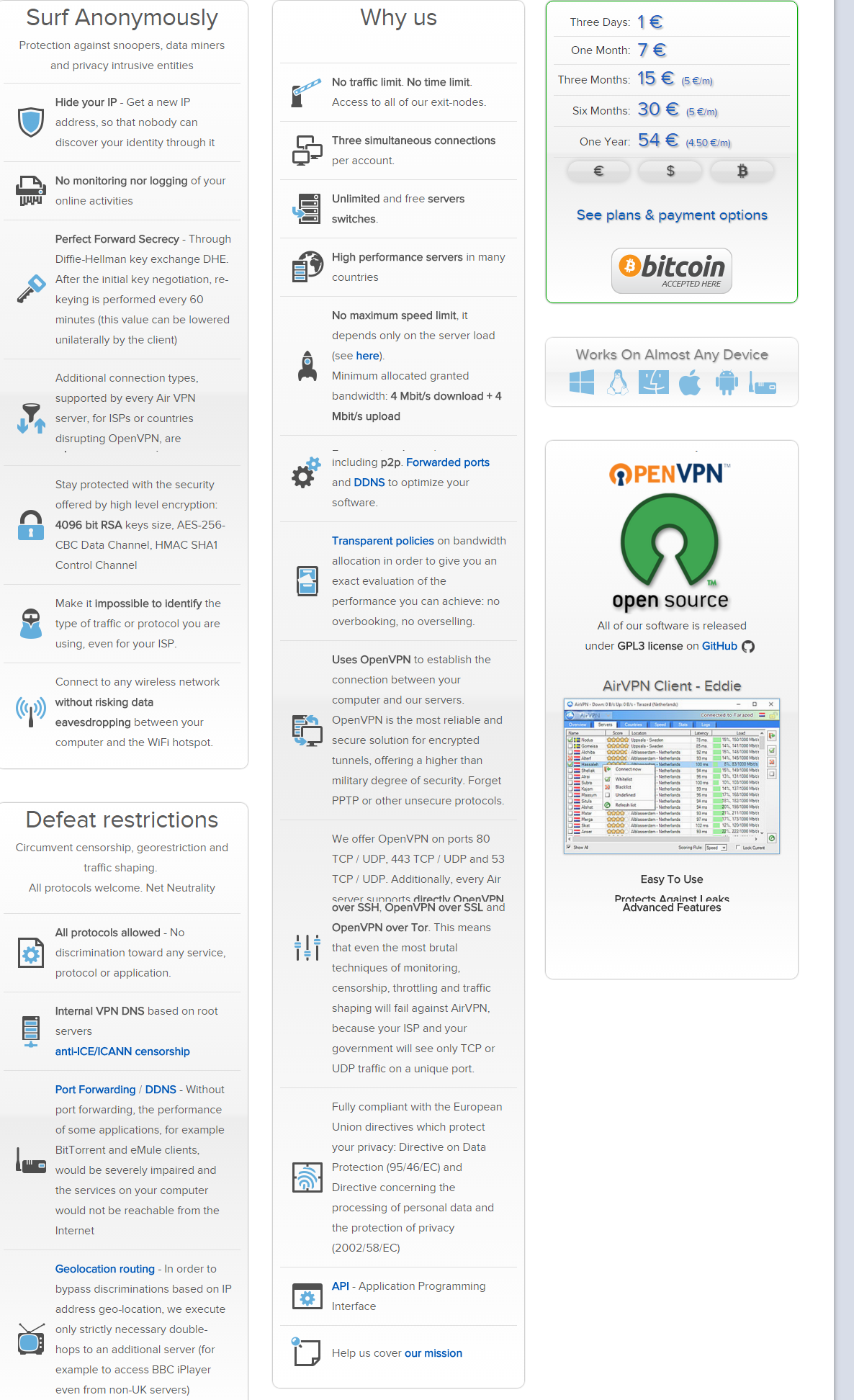 AirVPN VPN features