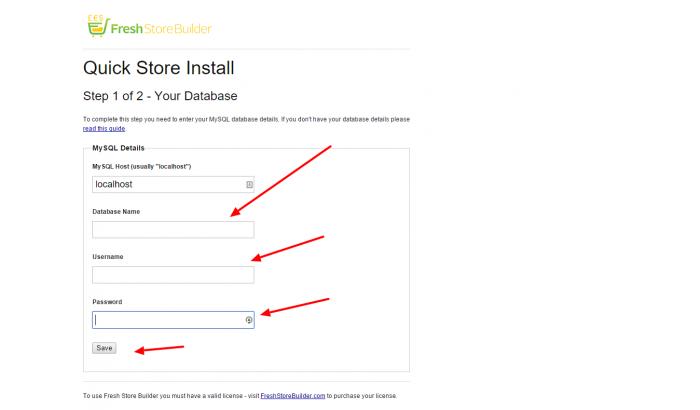 Database Install Fresh Store Builder