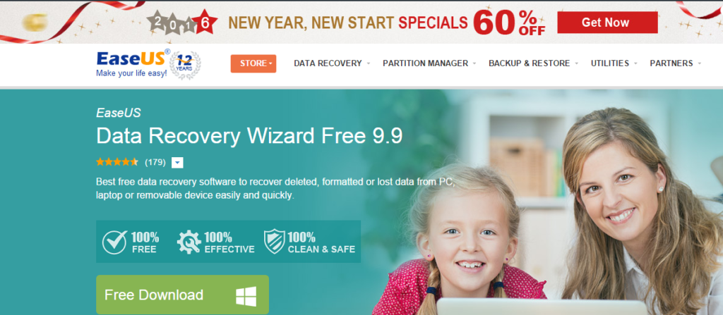EaseUS Data Recovery Wizard Free Edition Free Data Recovery Software Download to Recover Deleted Files