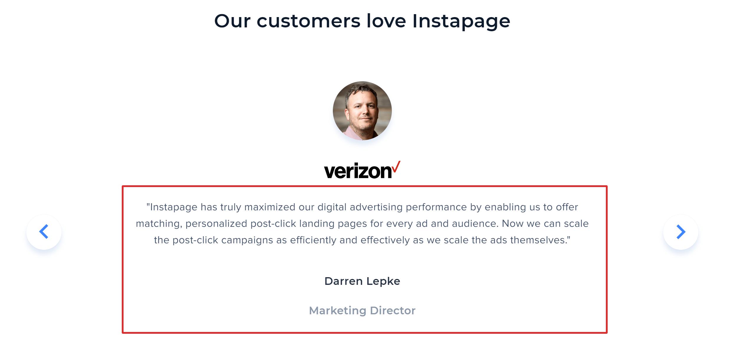 Instapage customer reviews