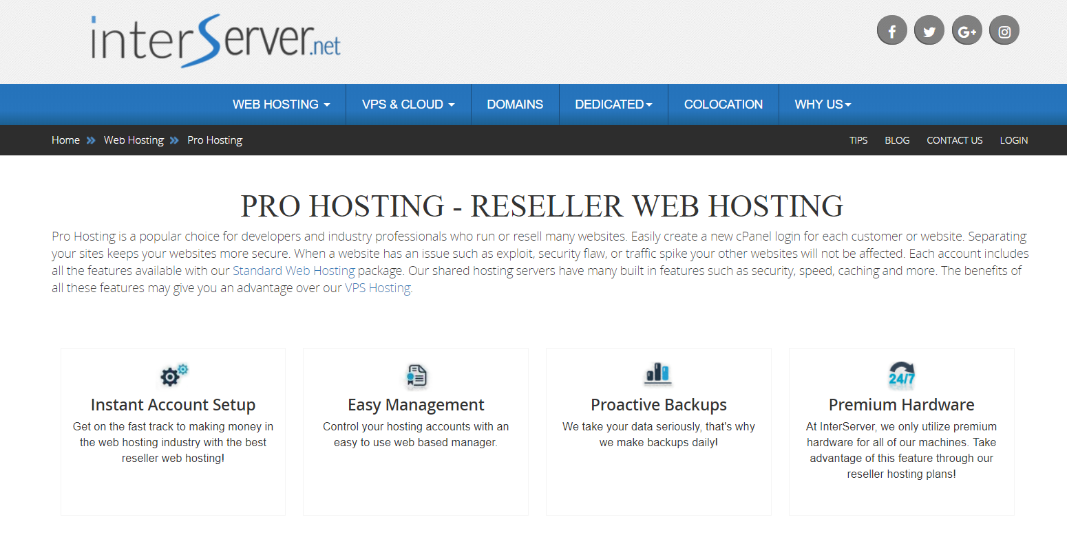 Interserver Pro Hosting- Best Reseller Hosting