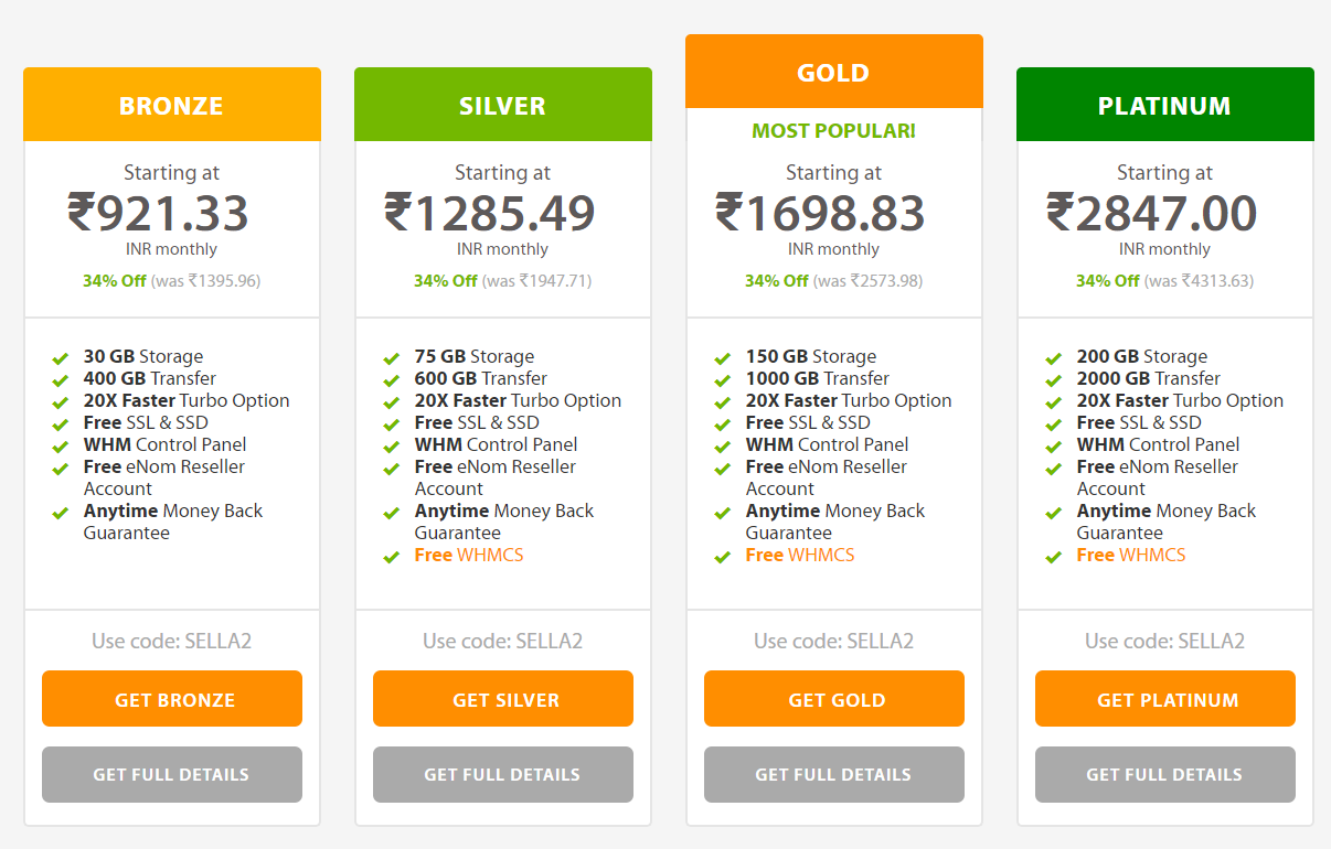Reseller Web Hosting- A2Hosting Pricing Plans