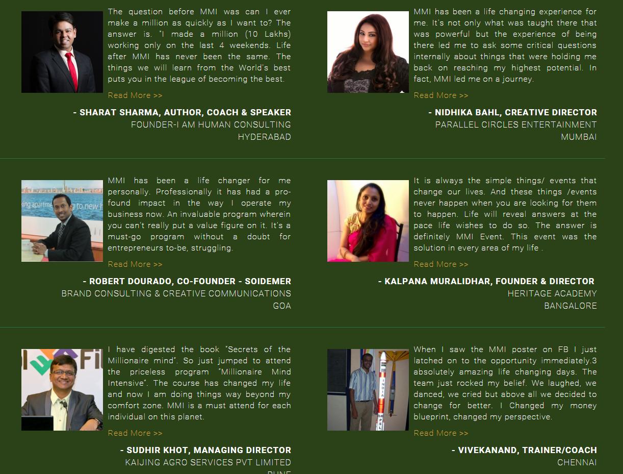 Chennai Millionaire Dollar Mastermind Successgyan and successresources Testimonials