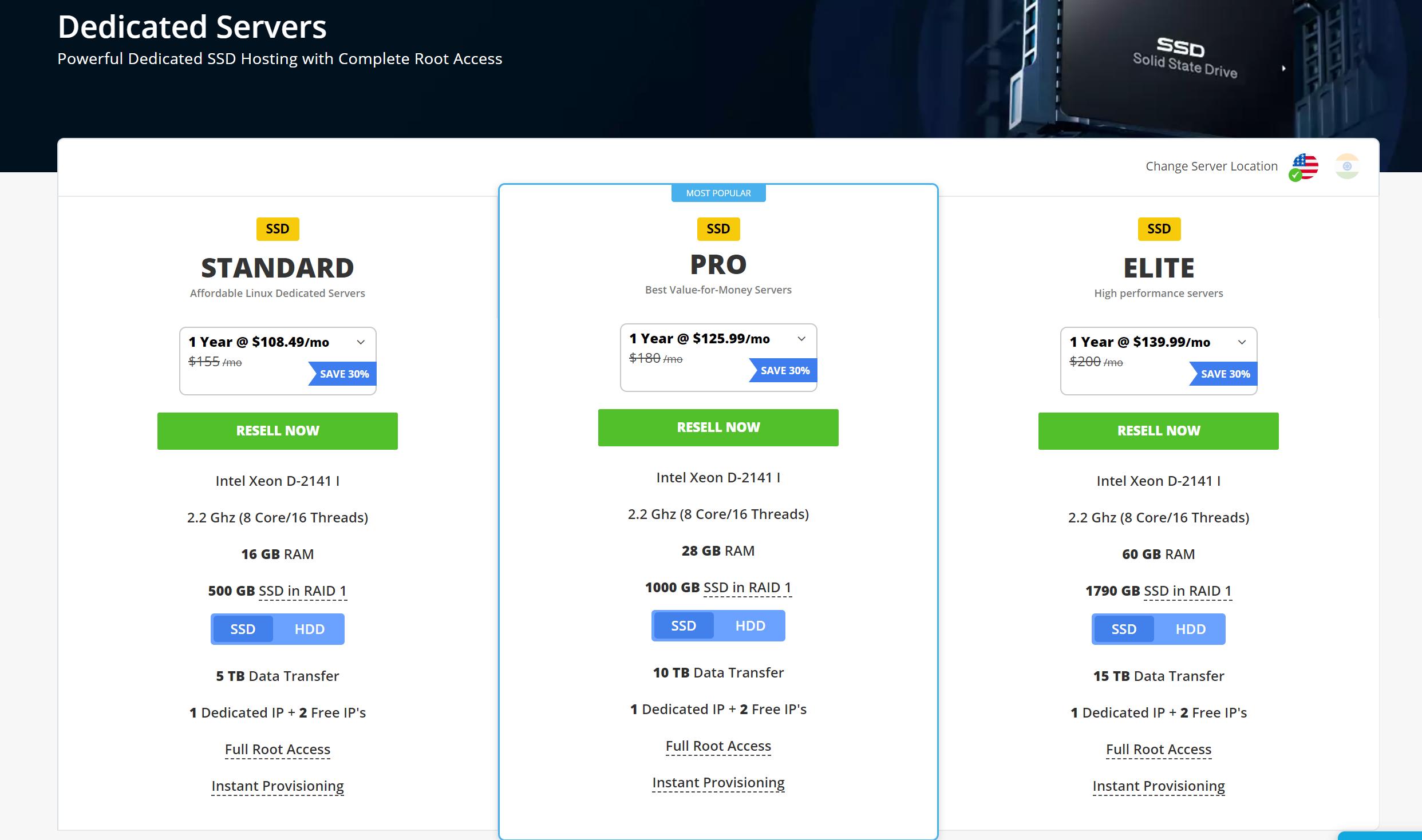 ResellerClub SSD Dedicated hosting reviews