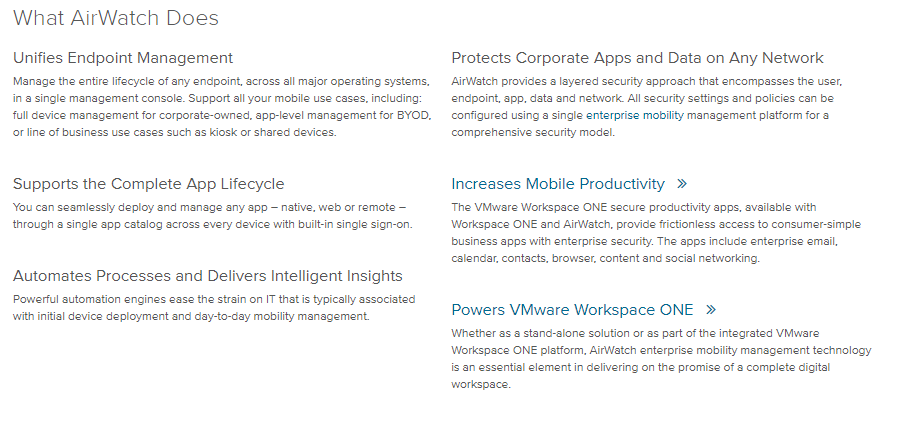 VMware- airwatcg what it does