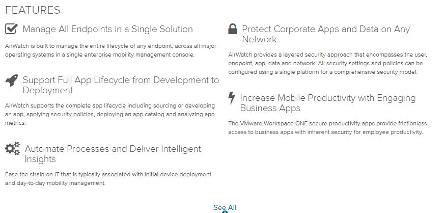VMware- airwatch features