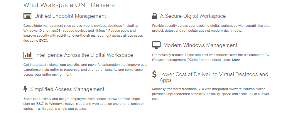 VMware- webspace one delivers