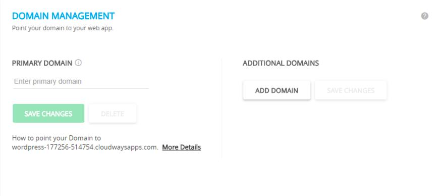 cloudways wordpress hosting- domain name managment