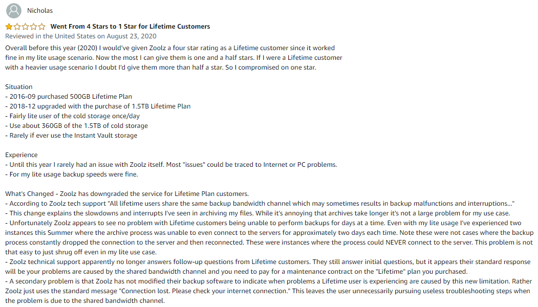 Amazon Zoolz review