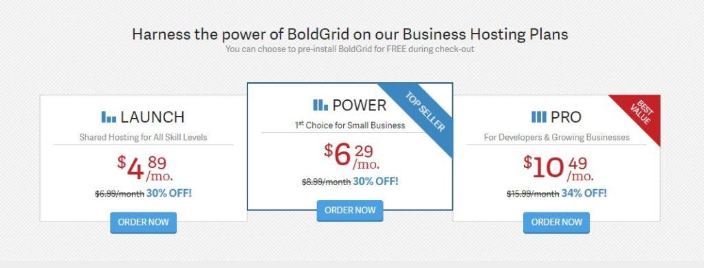 BoldGrid features hosting
