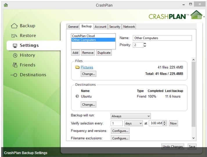 CrashPlan backup settings