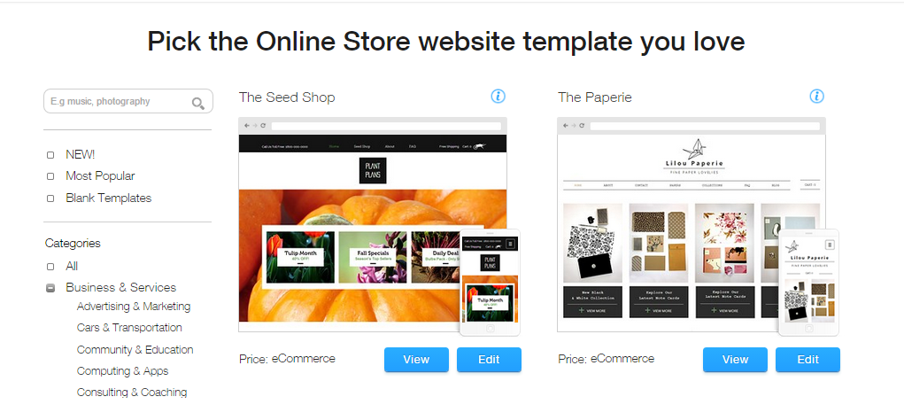 Choose Template on Wix Website Builder- wix vs simvoly