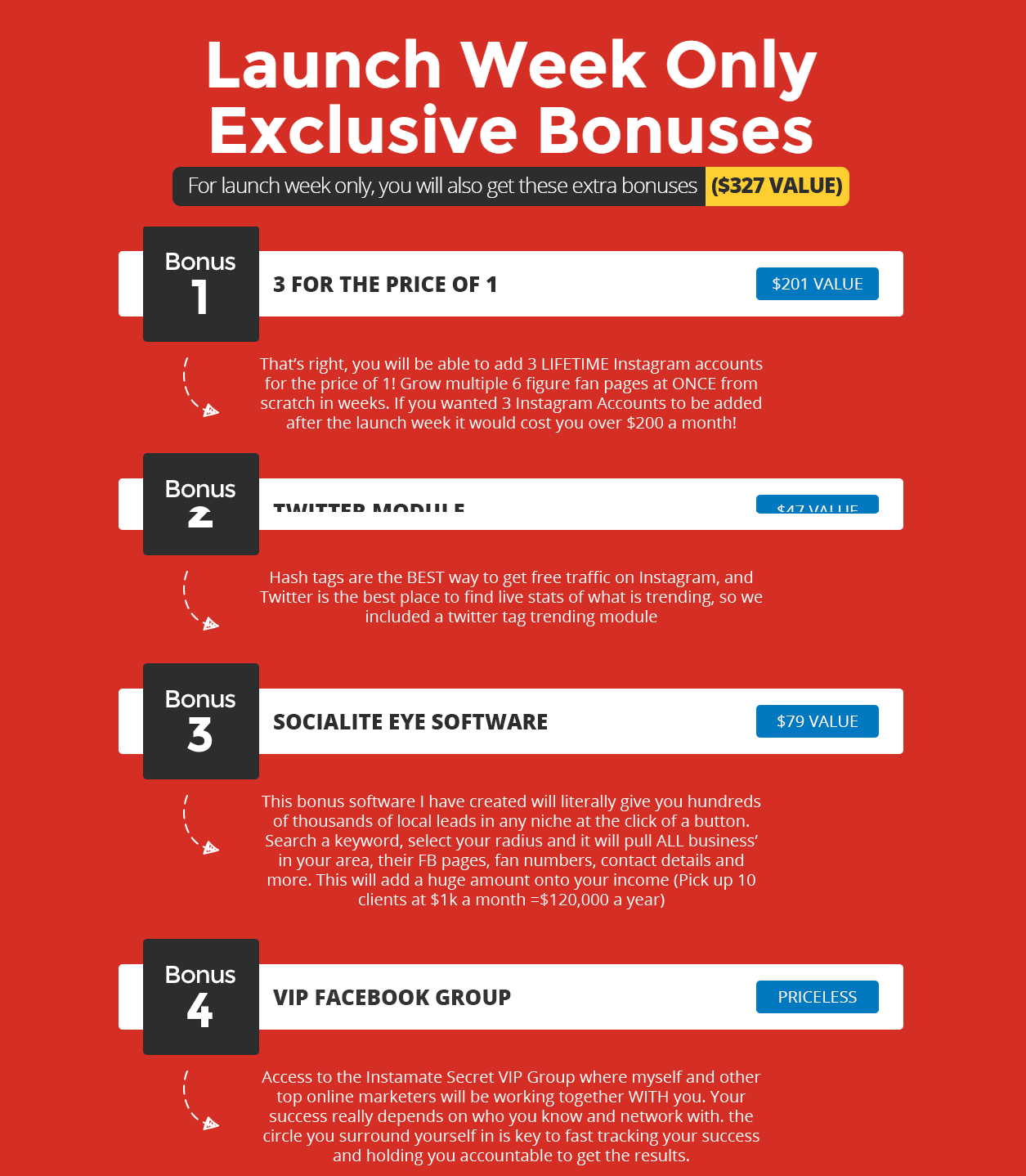 Instamate bonus and oto offer discount offers