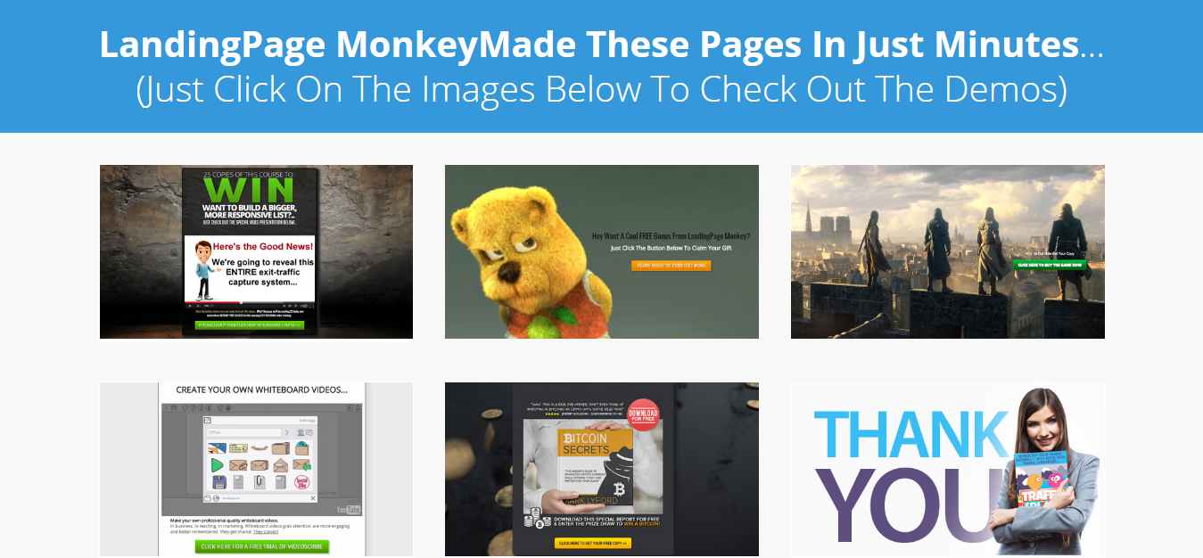 LandingPage Monkey Demo and review features