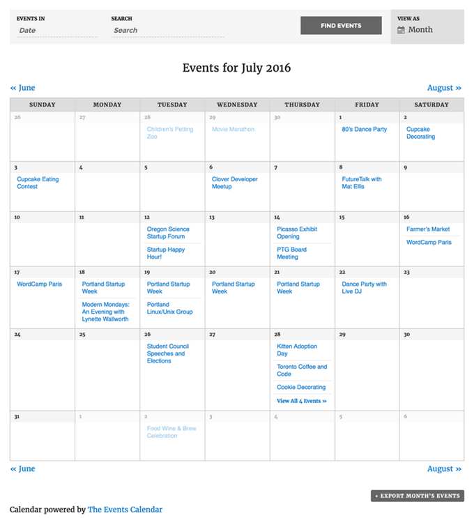 Events Calendar by Modern Tribe