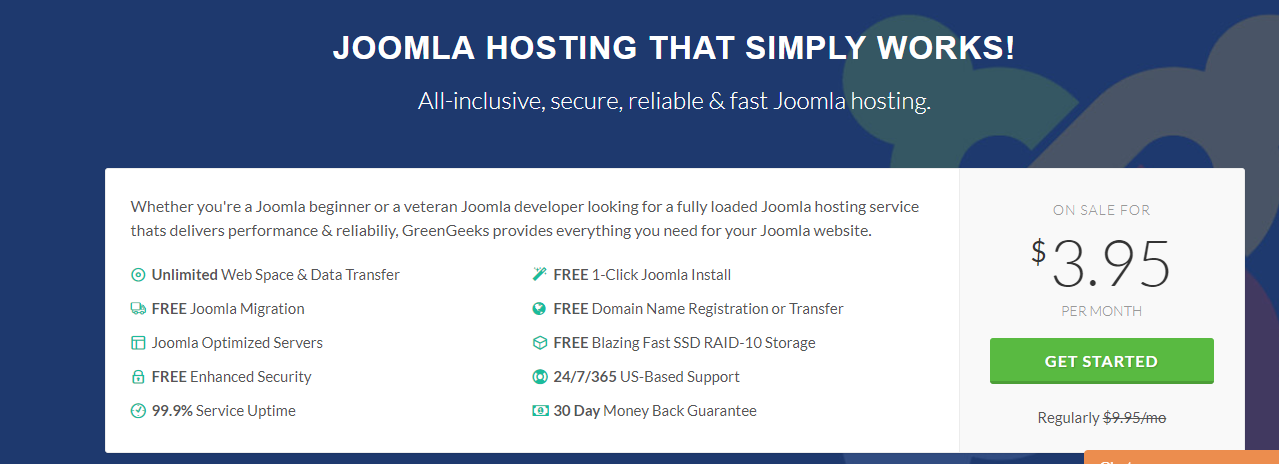 GreenGeeks Joomla hostinh features