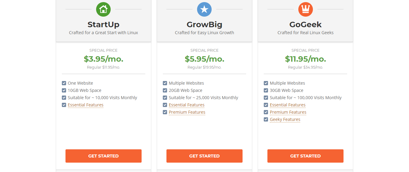 Siteground linux hosting pices
