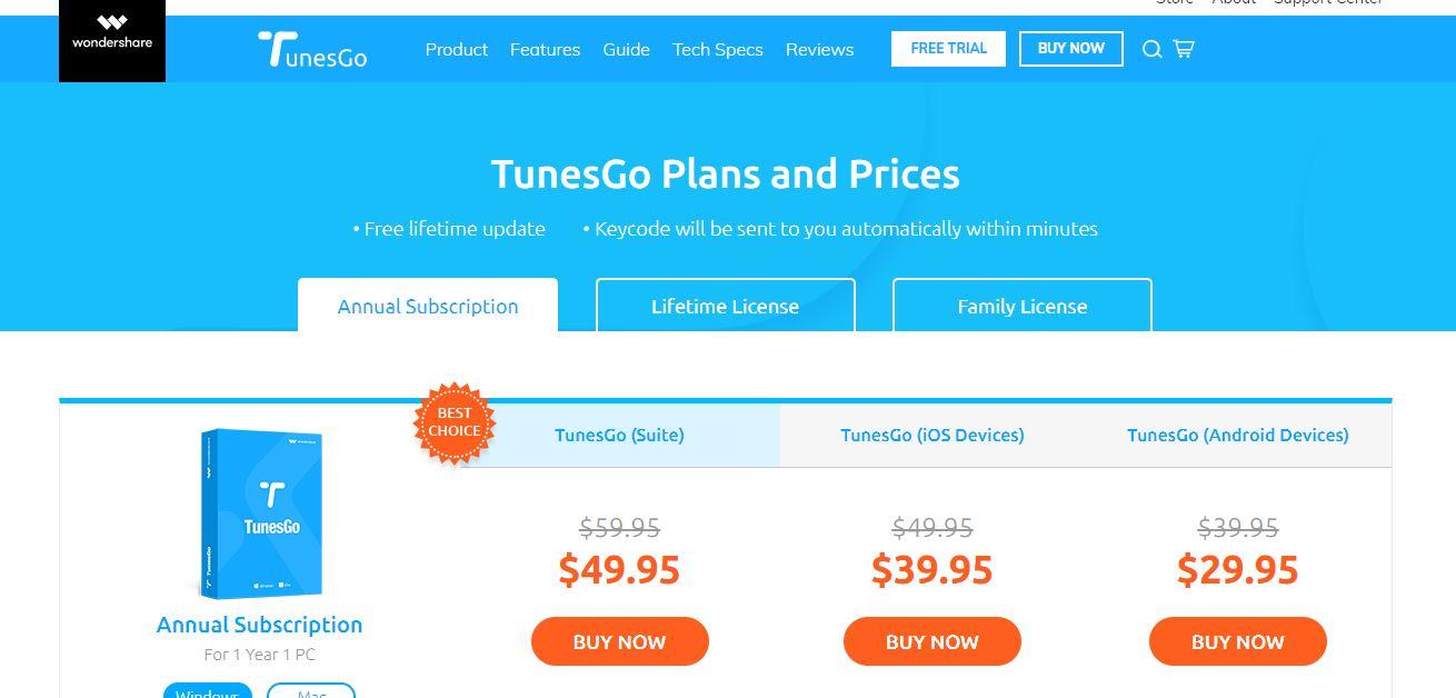 Wondershare Tunesgo Pricingr