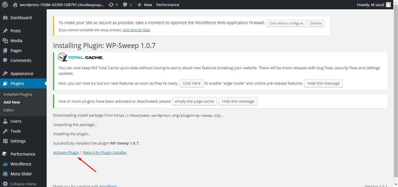 install WP Sweep Plugin