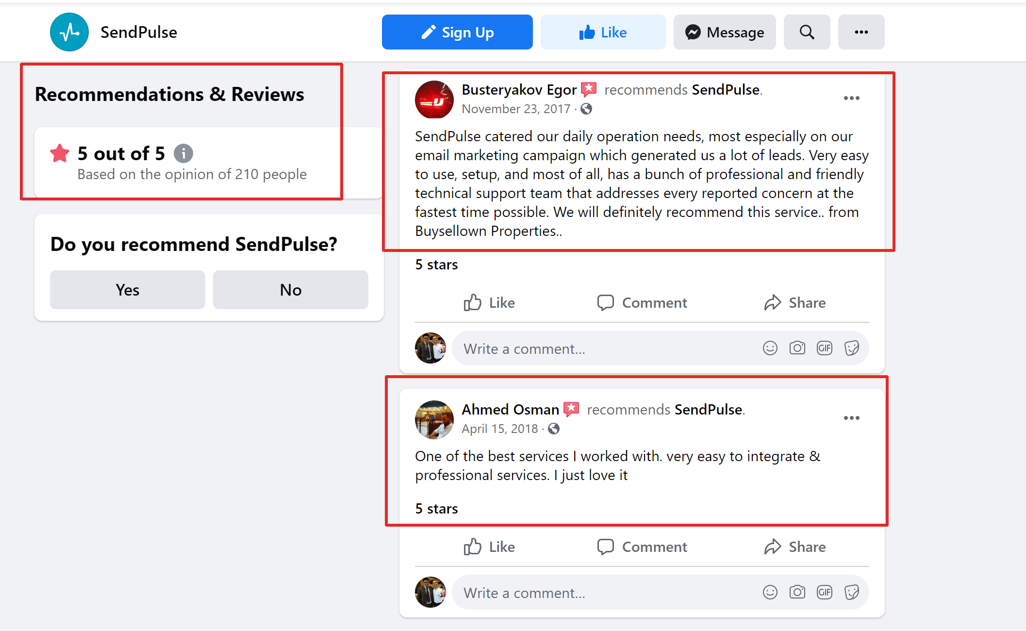Sendpulse customer reviews