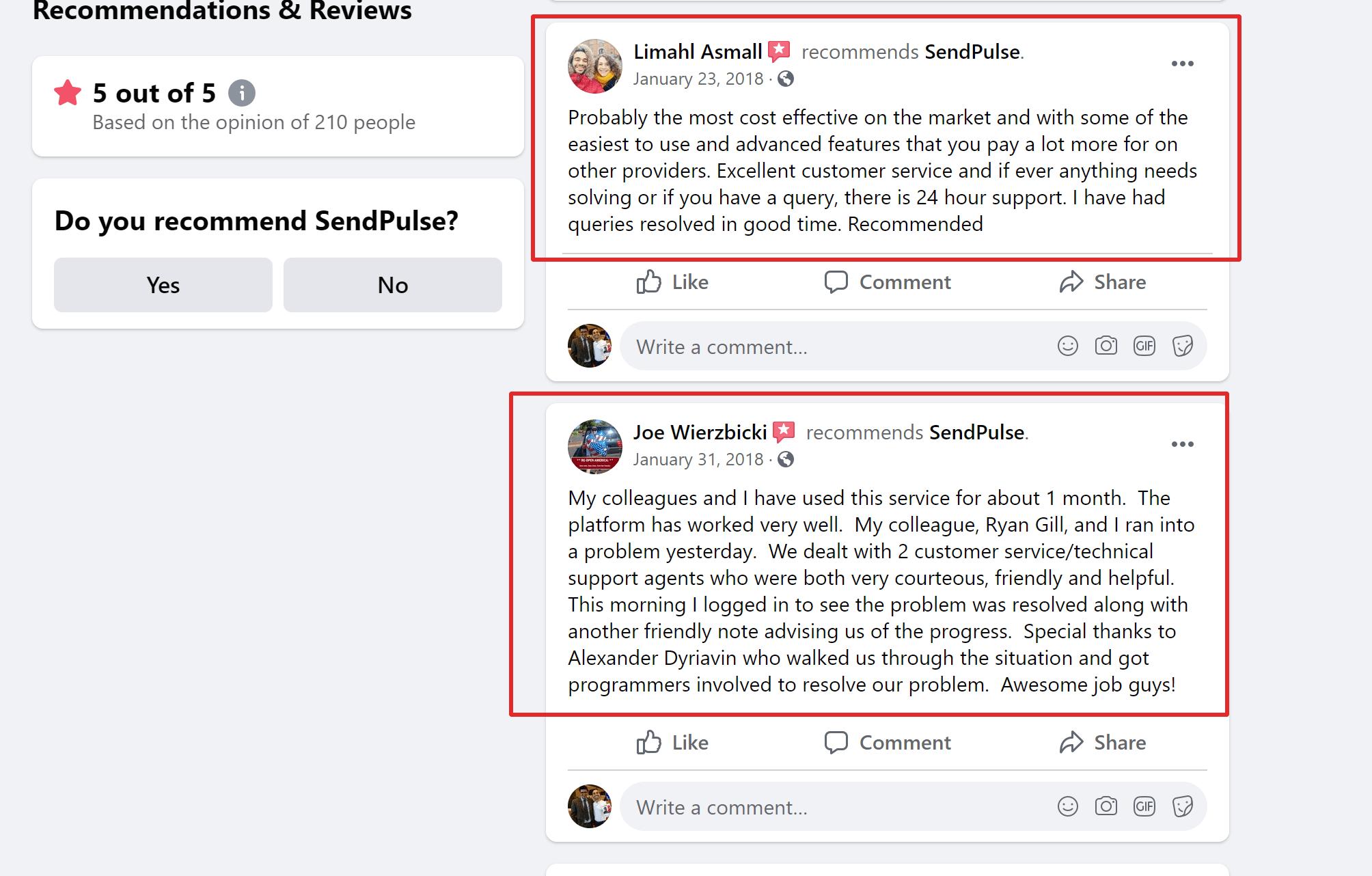 Sendpulse testimonials and recommendations