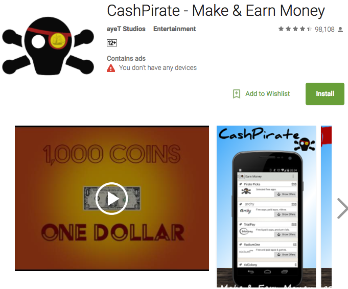 best money making apps: cashpirate