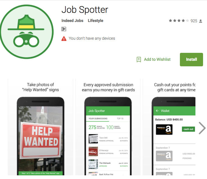 jobspotter - earn amazon credits