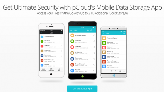 pCloud Mobile Encryption App Mobile Data Storage