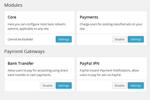 WPAdvert modules