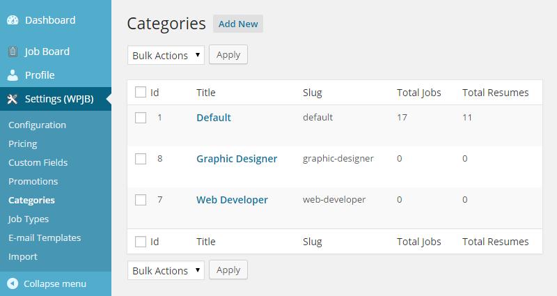 WPJobBoard categories