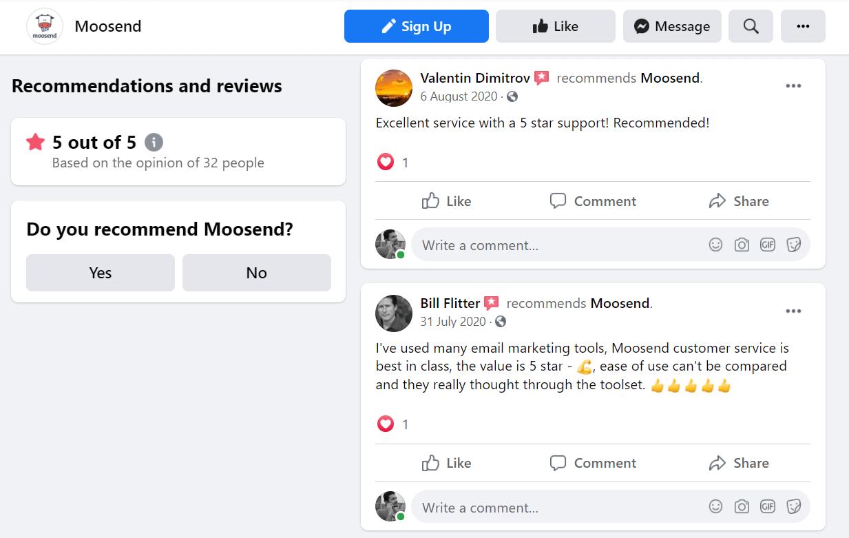 Moosend Facebook Review