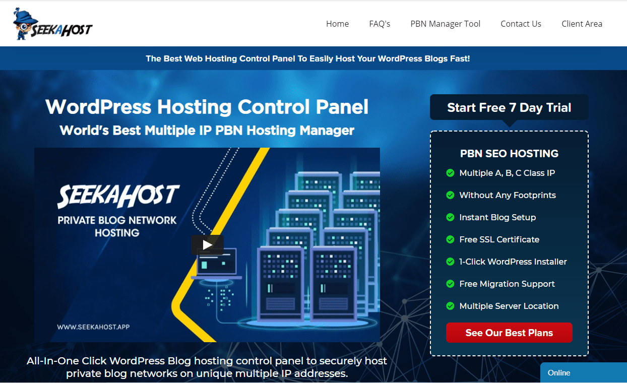 SeekaHost PBN management tool with hosting control panel