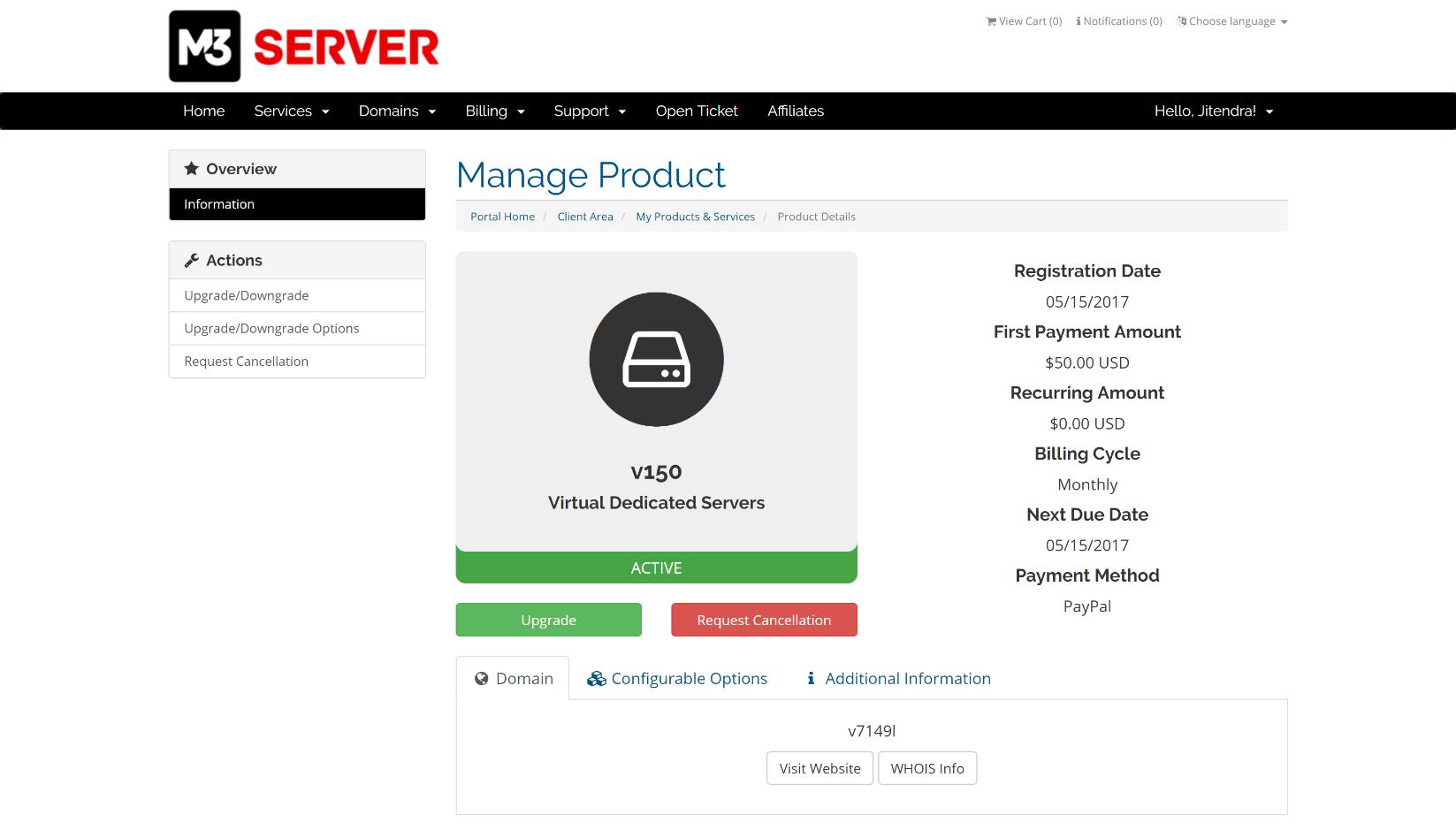 m3server services dashboard