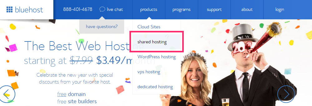 step-1-bluehost-homepage