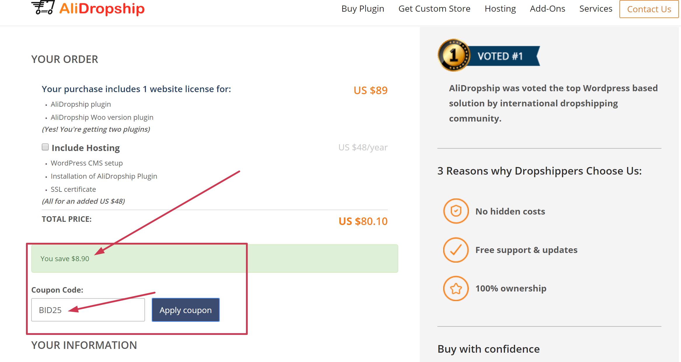 Alidropship coupon code promo discount coupon