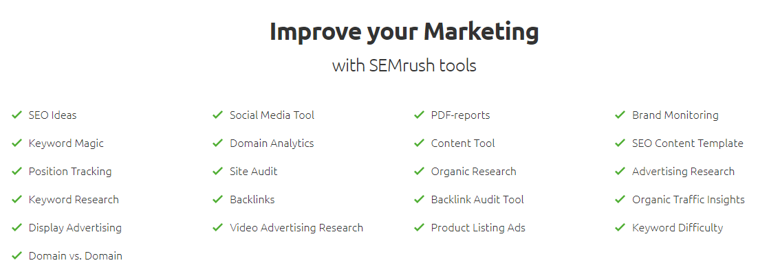 Marketing Features - SEMRush coupon code - SEMRush promo code - SEMRush Discount coupon