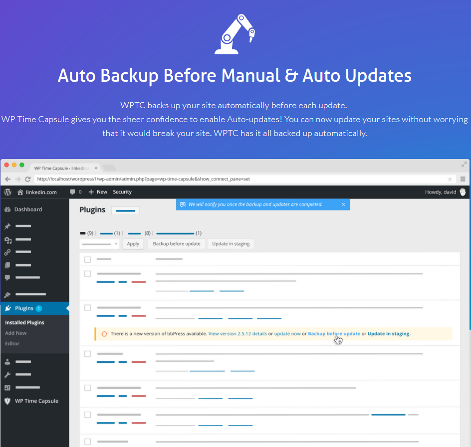 WP Time Capsule Review- Feature Auto Backup