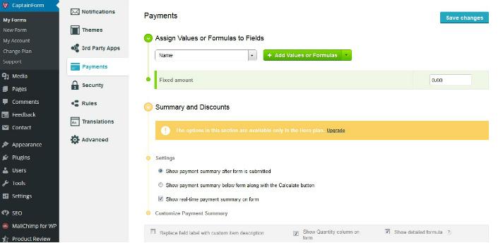 payment captainform