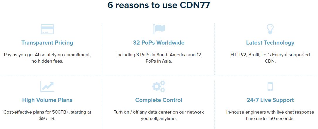 CDN77.com review - features