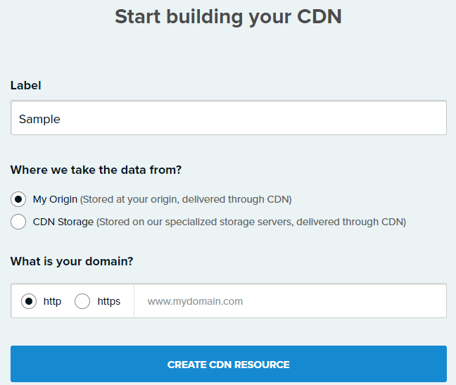 Create new CDN Resource CDN77.com