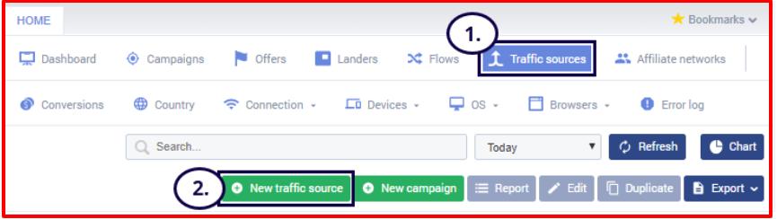 Voluum Review- Add New Traffic Source