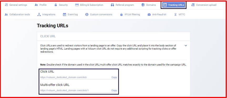Voluum Review- Adding Click URLS