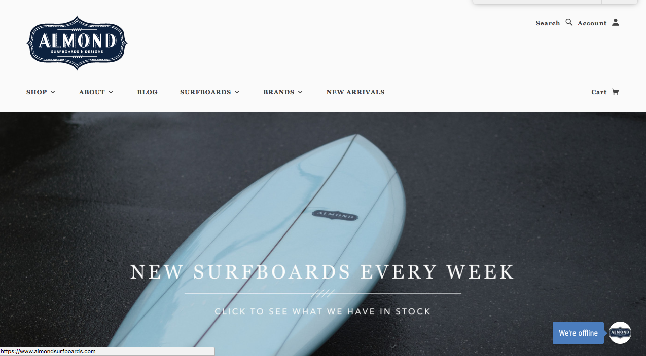 almond surfboards - shopify store