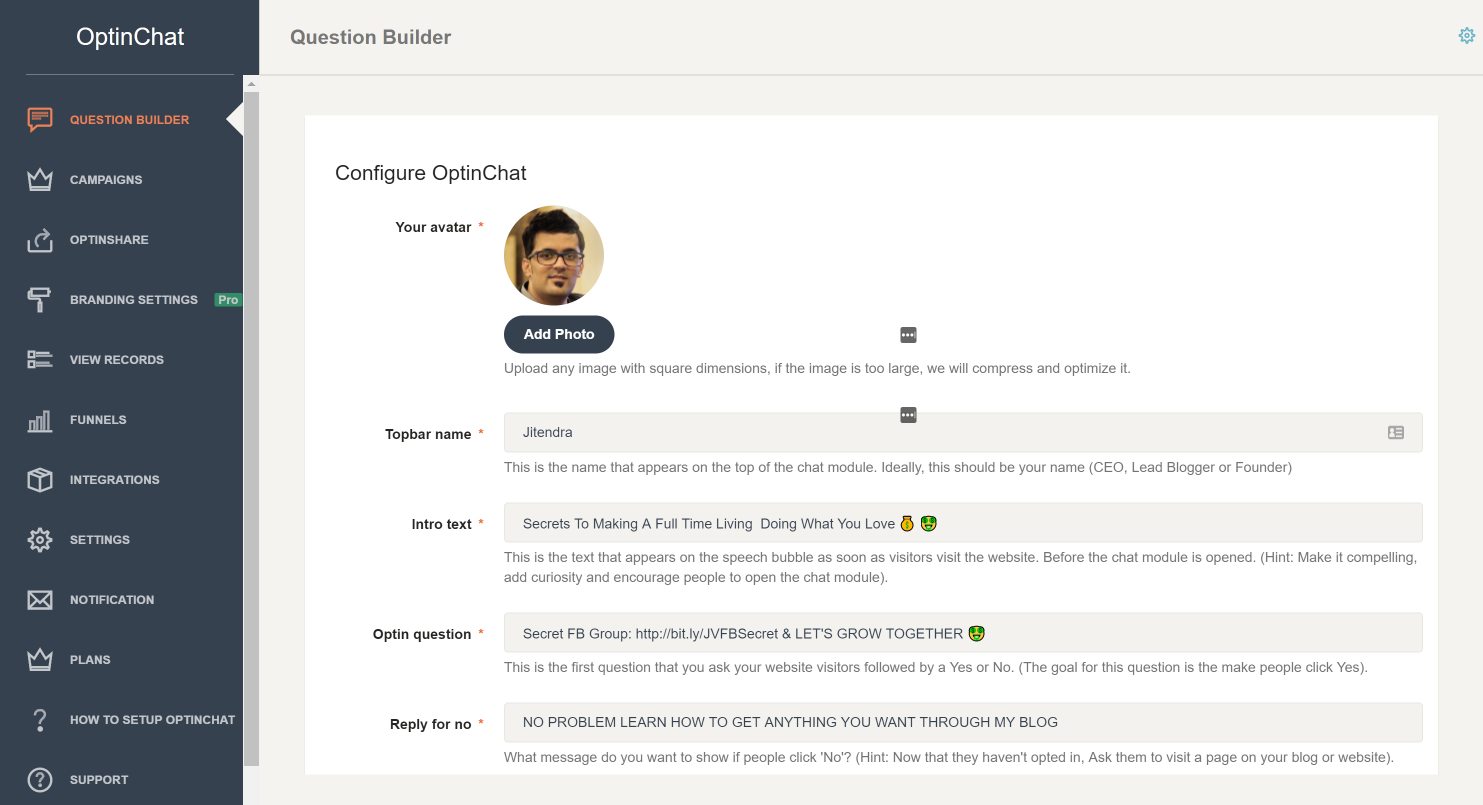 OptinChat Question Builder