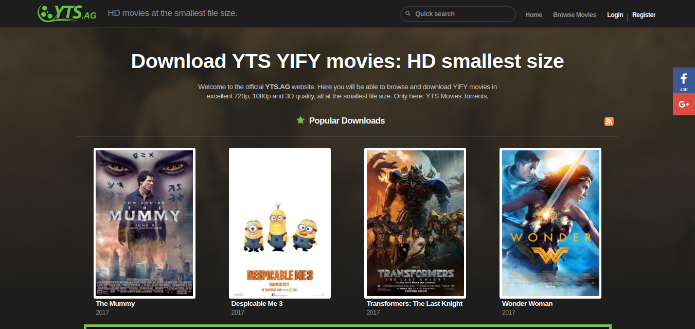 Popular Torrent Site- YIFY Movies Torrent