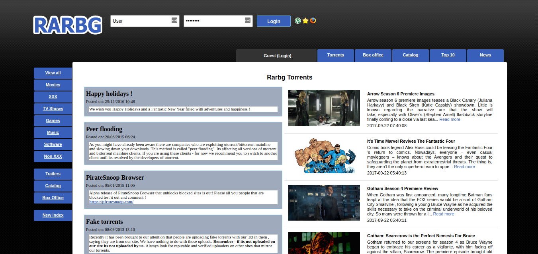 RARBG Rarbg Index page- Popular torrent site