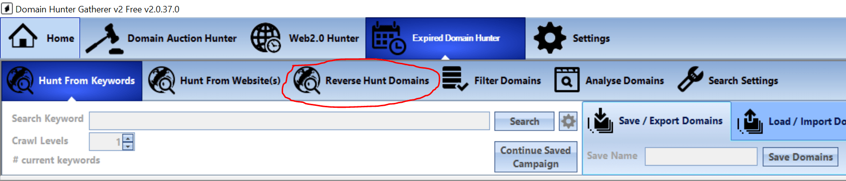 Reverse hunting domains