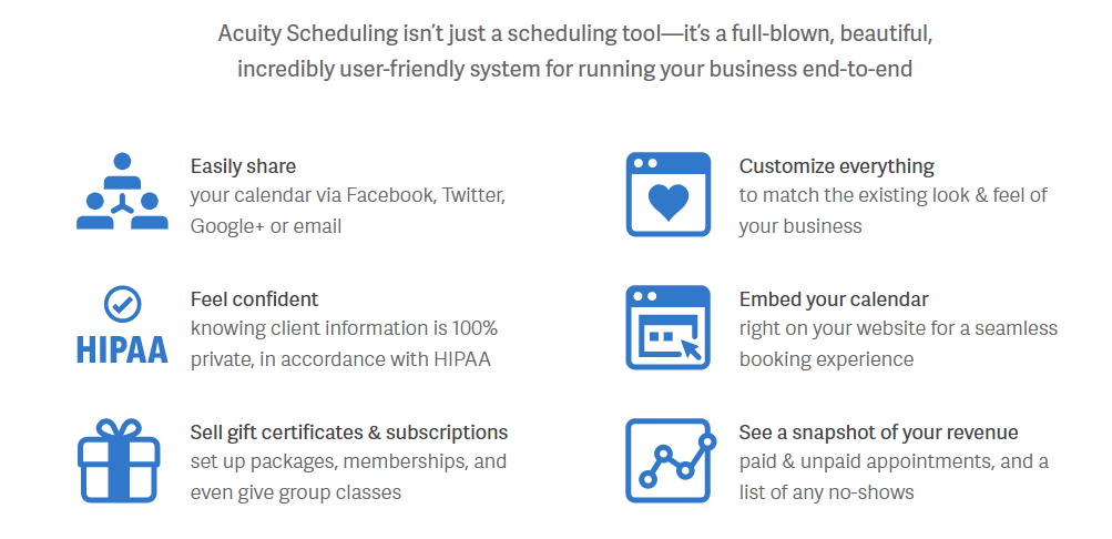 Features - Acuity Scheduling Review