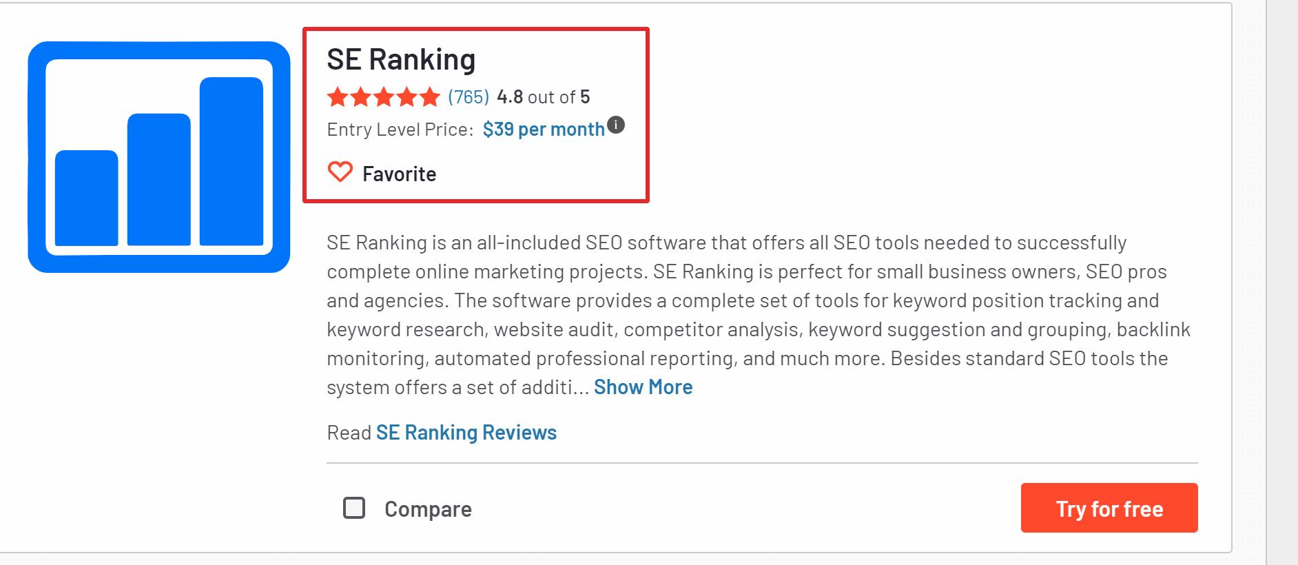 G2 ranking SE ranking